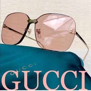 💯 GUCCI 99mm rimless sunglasses in pink